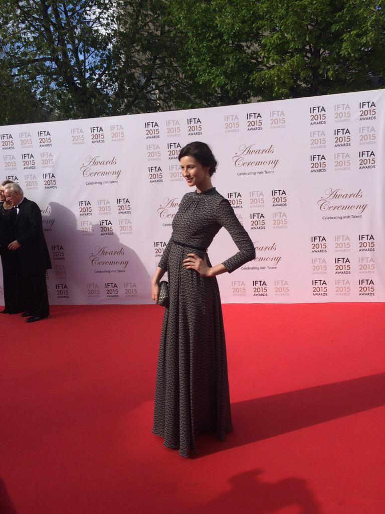 Outlander star and Irish actor @caitrionambalfe causing a stir on the carpet #IFTA15 http://t.co/WiAcq4eFDw