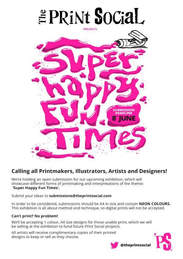 WE WANT YOUR SUBMISSIONS! Join us for our next exhibition Super Happy Fun Times. #screenprints #illustration #art http://t.co/tzI60JVa1n