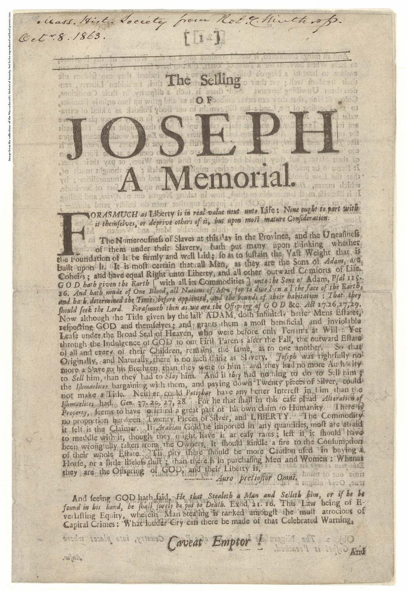 the arguments against slavery in the selling of joseph a memorial a book by samuel sewell Cotton mather and samuel sewall clearly by refusing to answer sewall s specific arguments against slavery in sewall, samuel the selling of joseph.