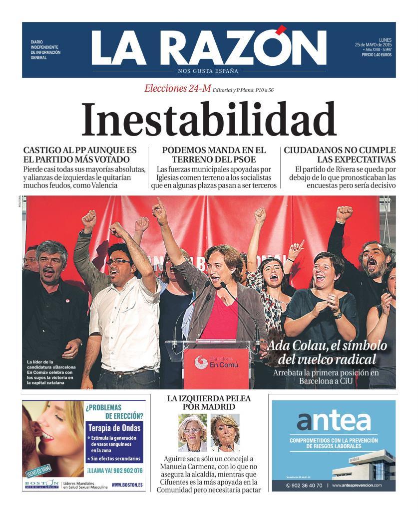Portada de La Razón 25-05-15  CFzwWM0WAAEKdgY
