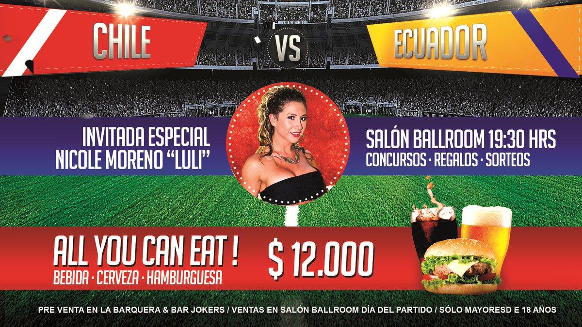 Este jueves ven a ver #ChileVsEcuador con @Lulichile y come todo lo que puedas. Venta entradas en Barquera y Jokers http://t.co/E0vDzbTvy3