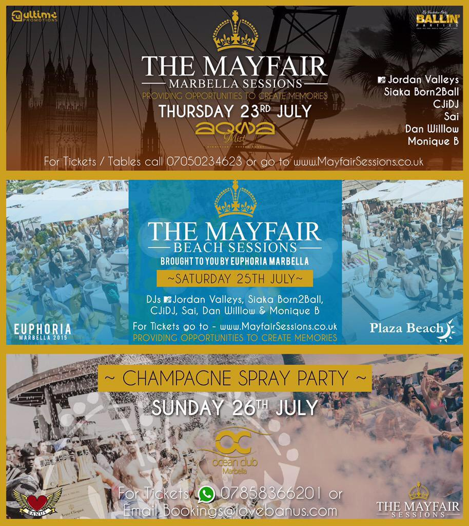 @MayfairSessions in MARBELLA JULY with the biggest events for tickets/beds/tables whats app +447496 174284 http://t.co/Qi8ojoDOOd