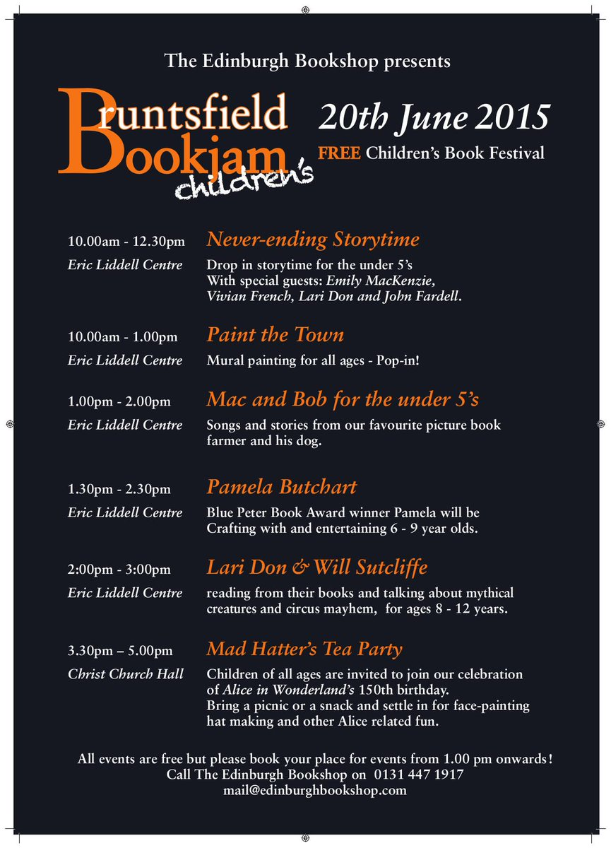 Free Children's Book Festival 20th June - The Bruntsfield Bookjam. Book now! http://t.co/TaOdEE7xm7