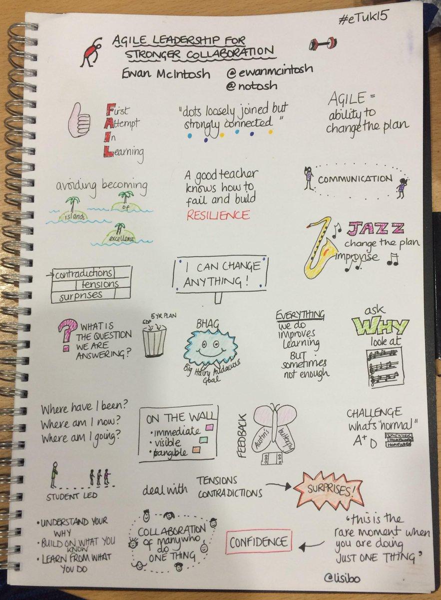Inspiring stuff from @ewanmcintosh on Agile Leadership for stronger collaboration #sketchnote #eTuk15 @NoTosh http://t.co/f6O5p4Qnvz