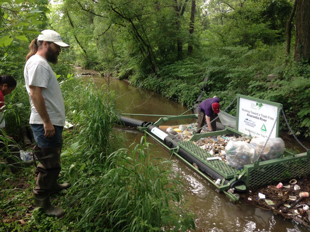 Trash Trap On The Nash Run Stream Which Captures Litter S Wildlife And Improves Water