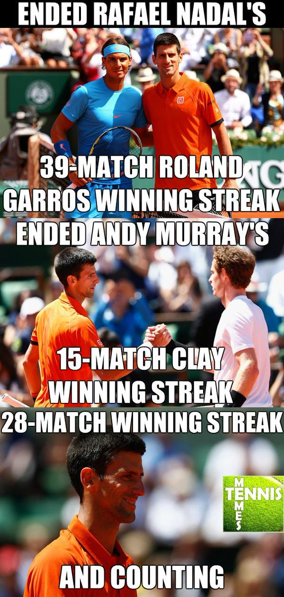 Tennis Memes On Twitter Novak Djokovic Ended Nadal And Murray S Winning Streaks While His Streak Is Still Alive Tennismemes Rg15 Http T Co Qcbtgzdolg