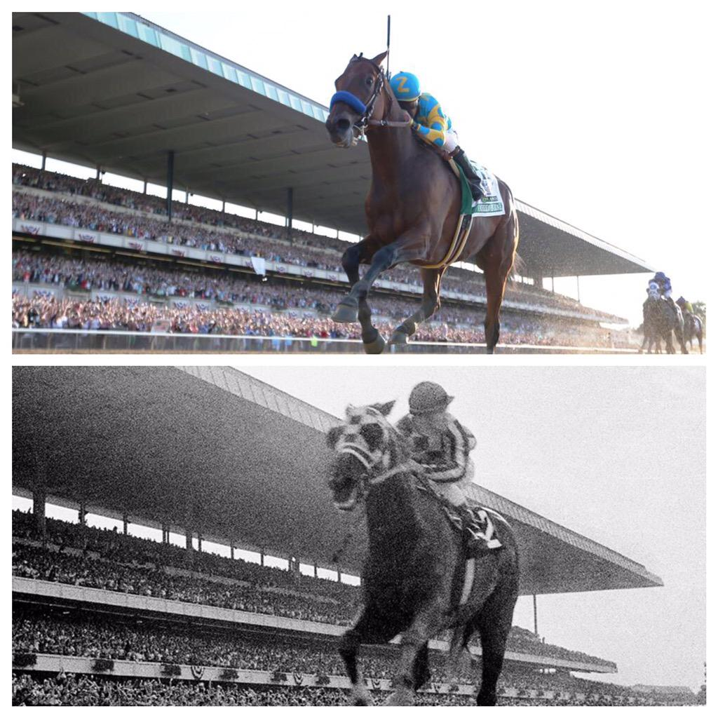 American Pharoah down the stretch at Belmont like Secretariat 42 years before him.  #TripleCrown http://t.co/a44kKe8lEh