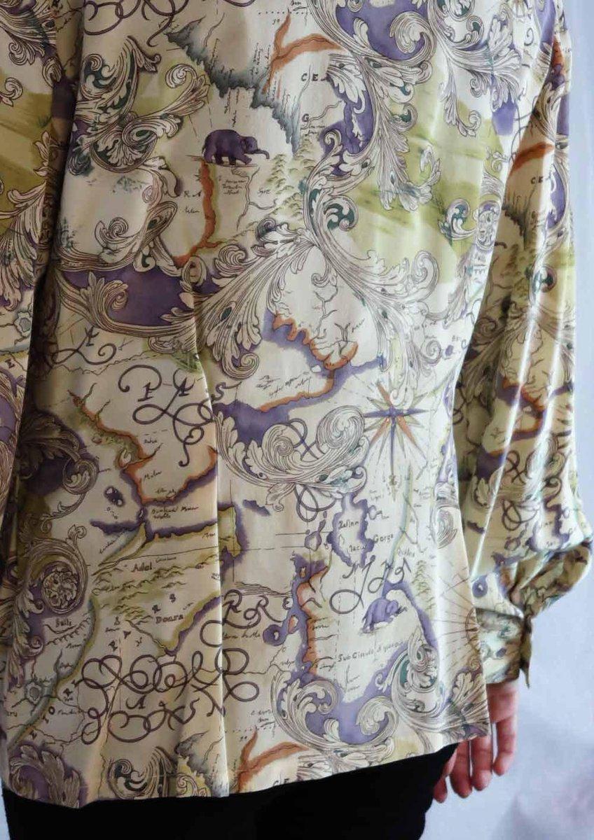 2c60492819c0f Vintage Dana Buchman Silk Blouse in Old World Map Print