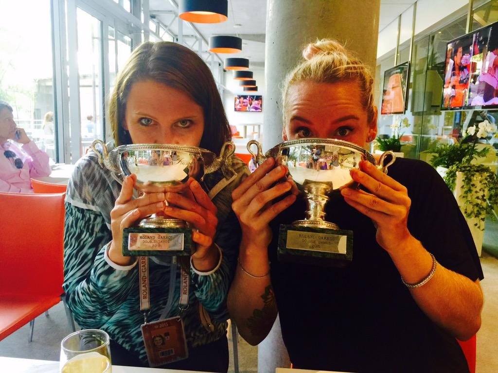 And yes... There is champagne in there! @rolandgarros @luciesafarova #RG2015  #CorkAlmostKilledUs #LightWeights http://t.co/anqlkZLecn