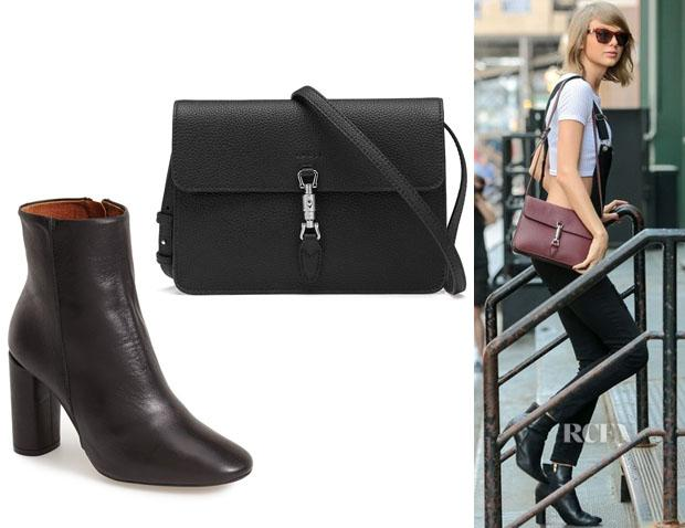 3f52866418f taylor swift s topshop magnum leather ankle boots and gucci jackie  convertible wallet