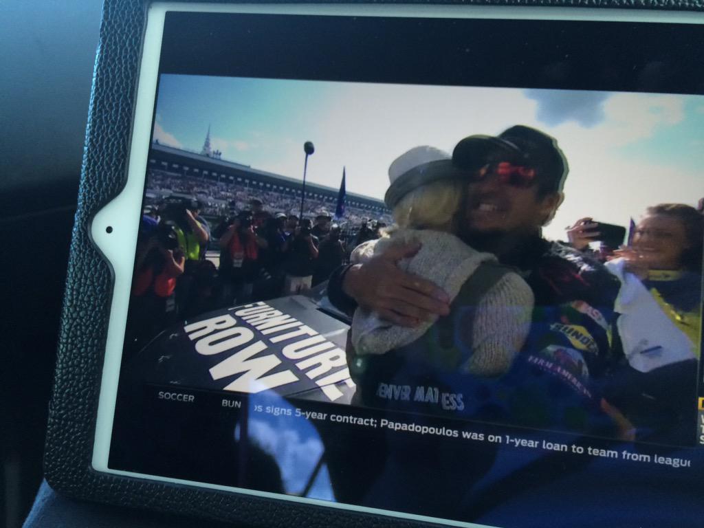Good thing hubby's driving as I'm crying happy tears @MartinTruex_Jr @SherryPollex congrats!!! http://t.co/YtivQQtx09