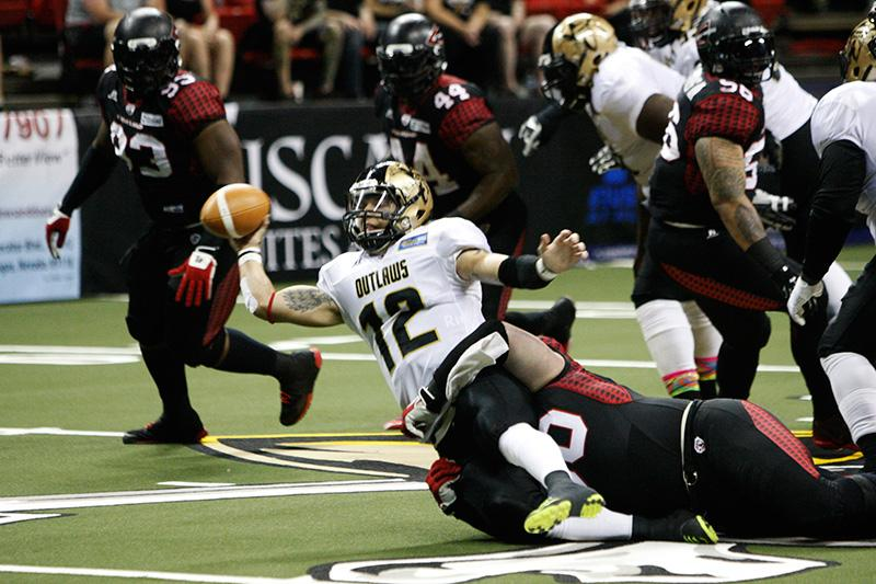 .@CLEGladiators won 63-44 against @AFLOutlaws in their AFL game at the @ThomasAndMack Center today. #lvrj http://t.co/8bBKOSbhdb