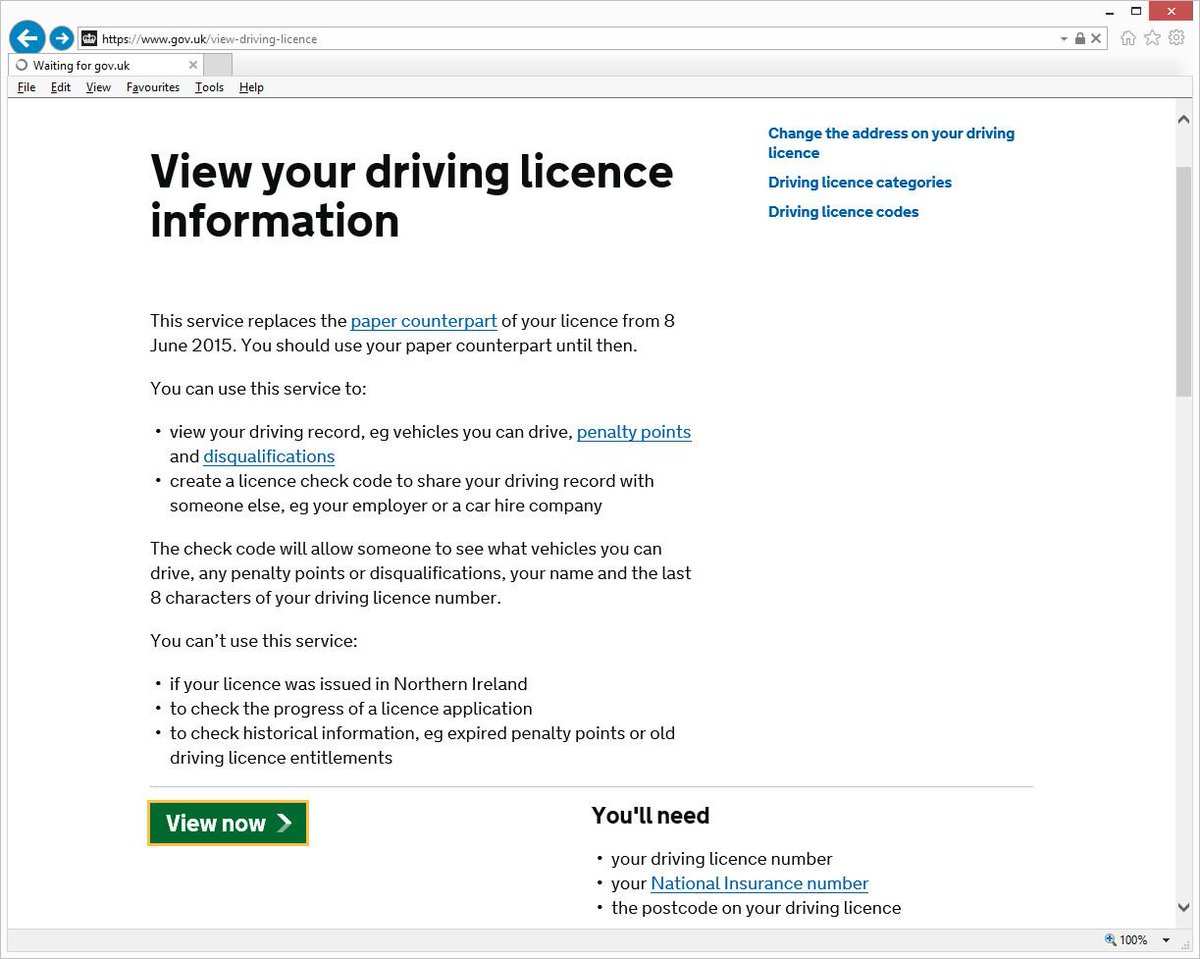 driving licence check with code