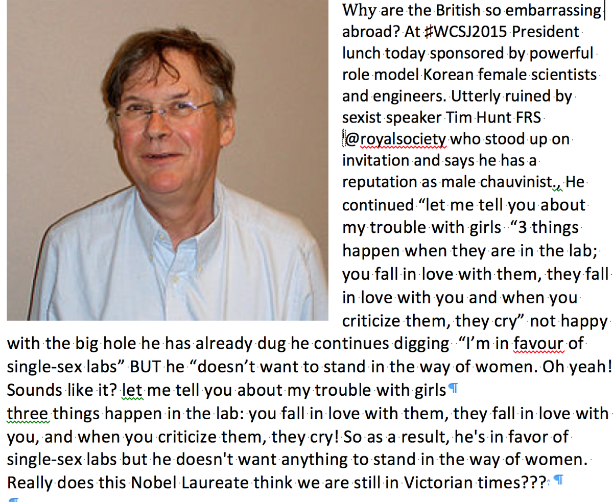 Tim Hunt on women