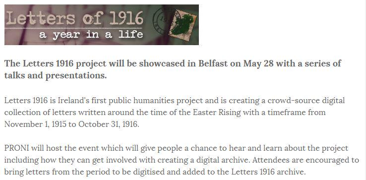1916 Letters project launches in Belfast - http://t.co/C8IvI0AKFU Thurs 28 May  #Ireland2016 #Belfast http://t.co/hOi6xKmK0O