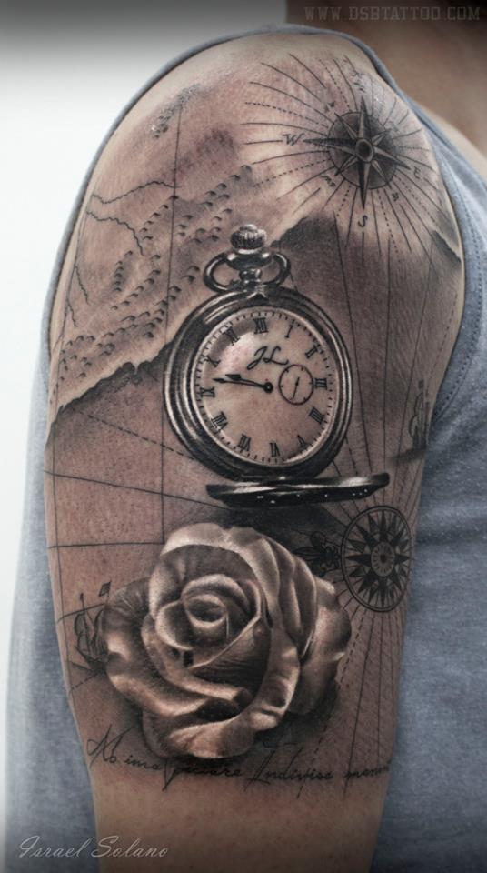 dsb tattoo on twitter reloj watch map mapa rosa rose tatuaje realista tattoo realism. Black Bedroom Furniture Sets. Home Design Ideas