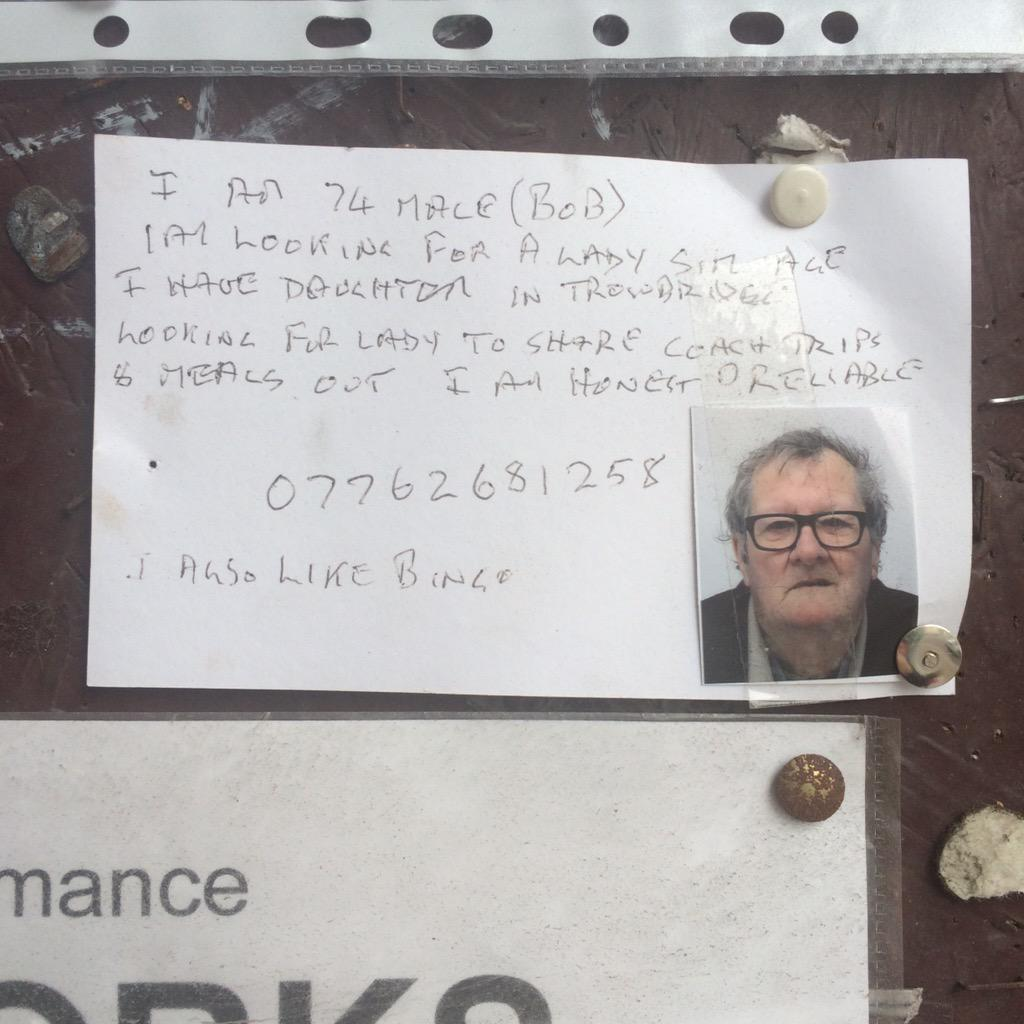Bless him, could someone out there in the #Frome area help #FindAFriendForBob please RT http://t.co/5eSm7YuKU1