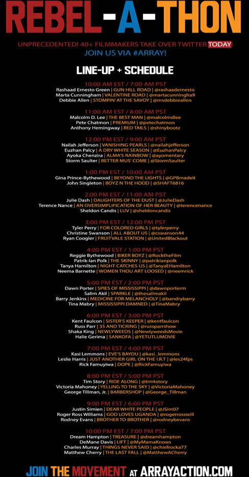 RT @AVAETC: So let's go! Here's the schedule of brilliant black feature filmmakers standing with @AFFRM. Tweet them via #ARRAY! http://t.co…