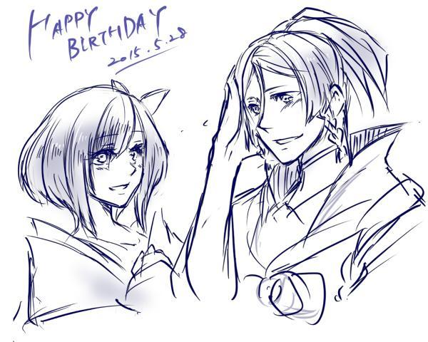 すいません 誕生日だと思って急いで描きました。改めまして、琥珀お誕生日おめでとう!!このイラストだと二人の誕生日みたいですいません。 http://t.co/ieaANClvg9