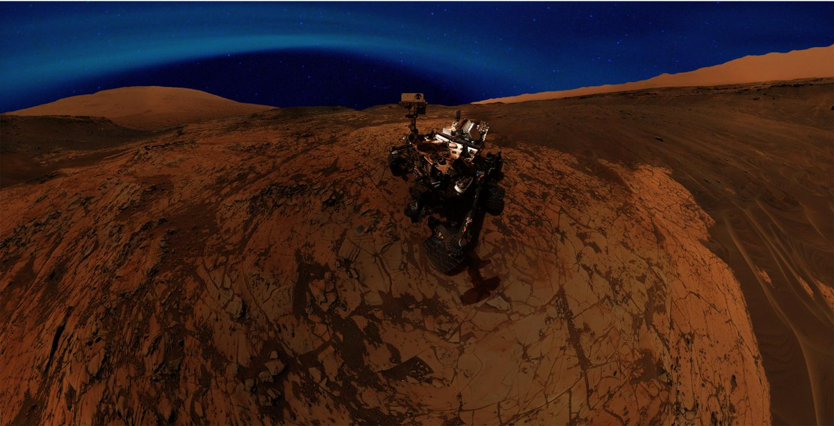 Blue Aurorae In Mars Sky Visible To The Naked Eye