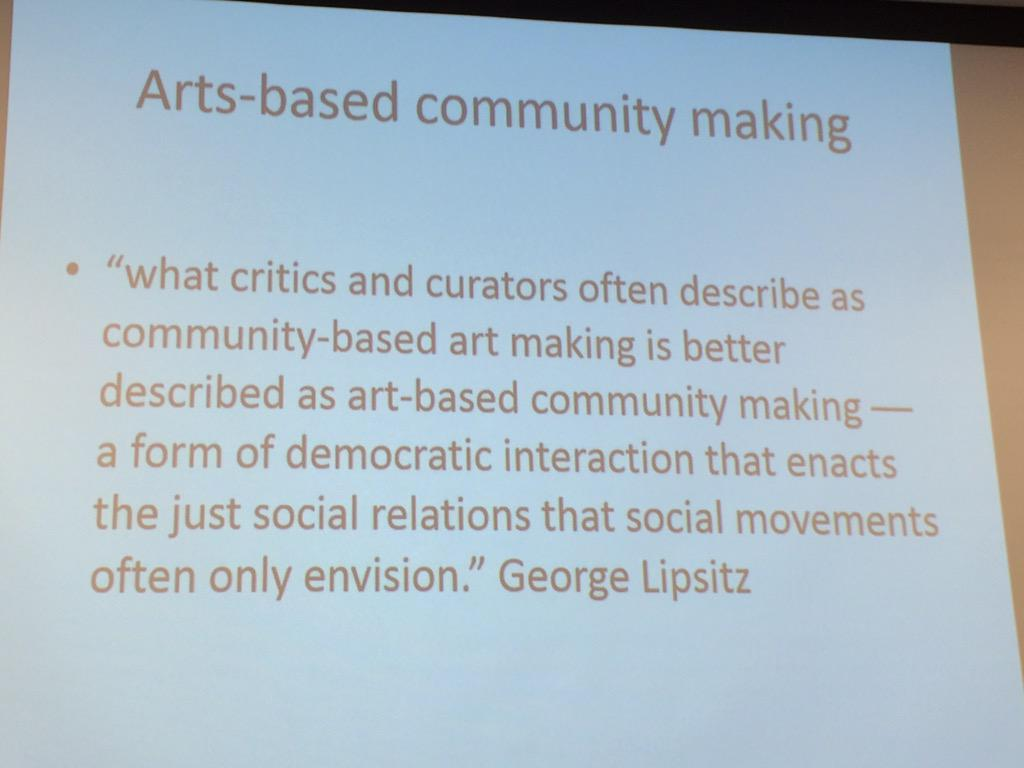 Liz Jackson on flipping the relationship: arts-based community making #c2uexpo http://t.co/k0uf4KFTeH