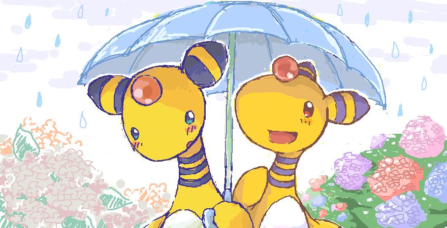 絵チャにて!相合傘デンリュウ合作!!!ちょうかわいい!!!!!左が私で、右がくりすさんです(*´ω`*)かわいい