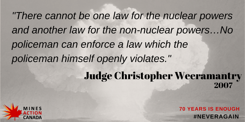 70 quotes 70 days until 70th anniversary of #Hiroshima & #Nagasaki. 1st up Sri Lankian Judge Weeramantry of the ICJ. http://t.co/9LwP88TiVK