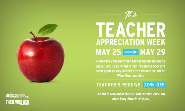 Scotty's loves teachers, with a school ID they receive 20% off now through Friday http://t.co/9N8LTHQWve