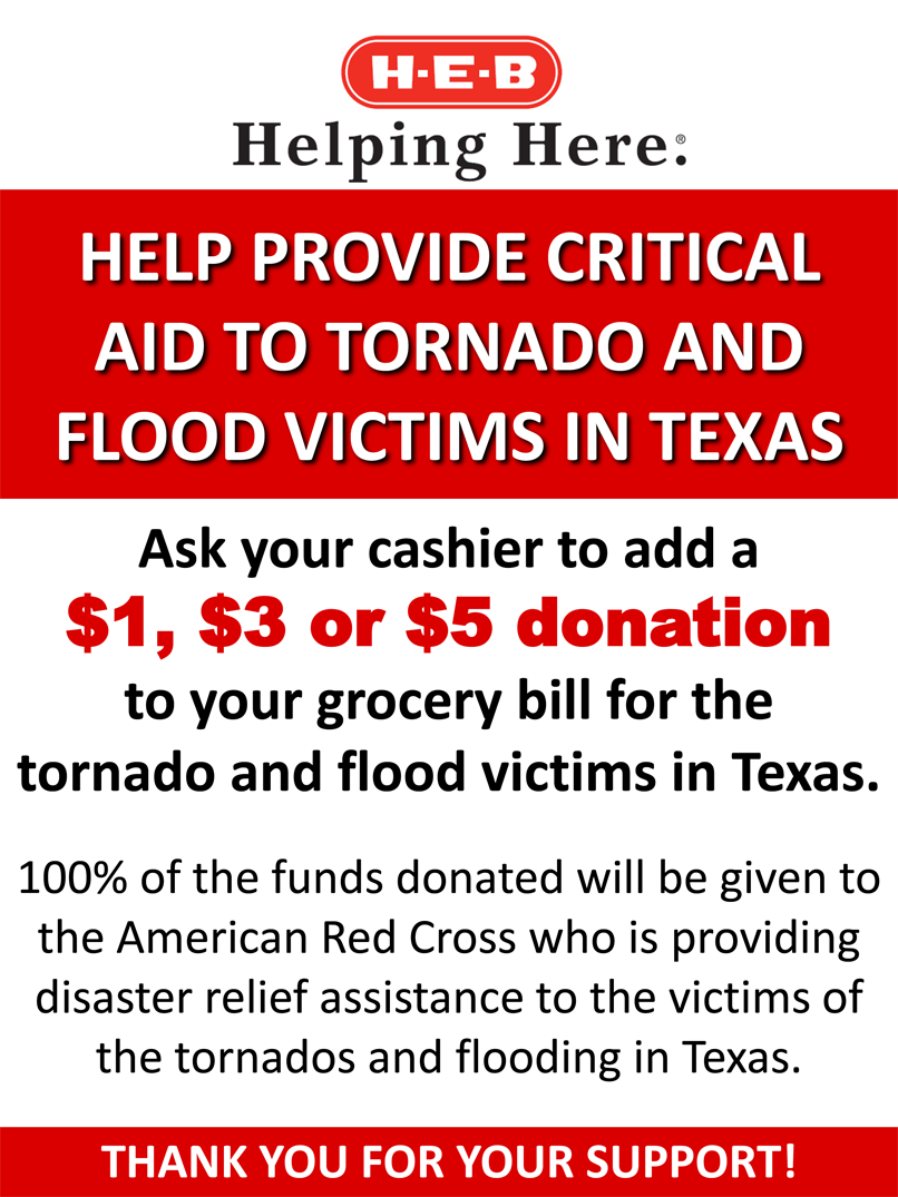 You can now donate $1, $3 or $5 to support storm victims @ your local #HEB or @CentralMarket: http://t.co/TzlDiOHyKK http://t.co/L6wkuDqLSa