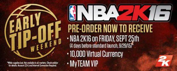 NBA 2k16 offer