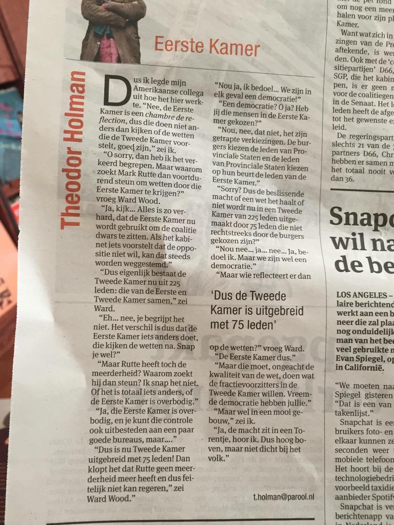 Mooie column van Theodoor Holman over waanzin Eerste Kamer @ThHN09 http://t.co/LShYK1Ys2c