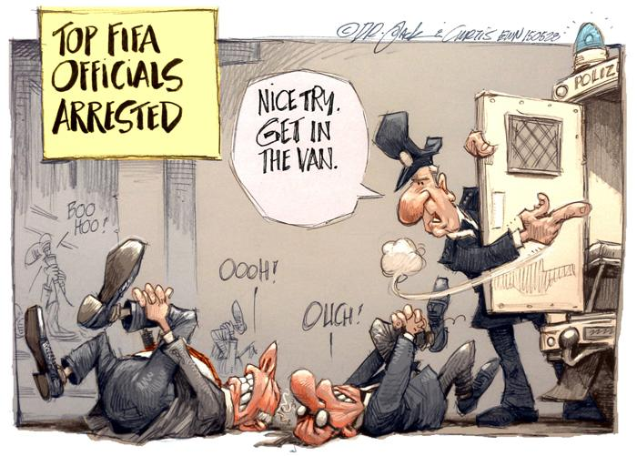 [CARTOON] Foul Play at #Fifa http://t.co/VlavBCPJH4 by Dr Jack & Curtis of @africartoons #FifaGate #FifaArrests http://t.co/KaJzCzmKiM