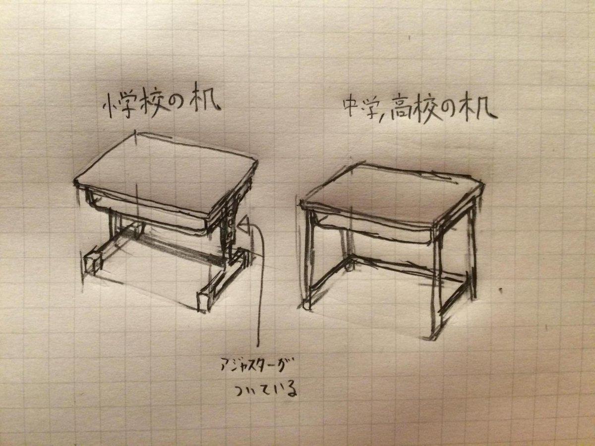 みなさん小学校の机というと割と右を描きますが、現在の小学校の机は大抵左です。右は中学、高校の机です。小学生は一年生から六年生で身長が違いすぎるため、アジャスターが必要なのです。 pic.twitter.com/f82lbAn2R5