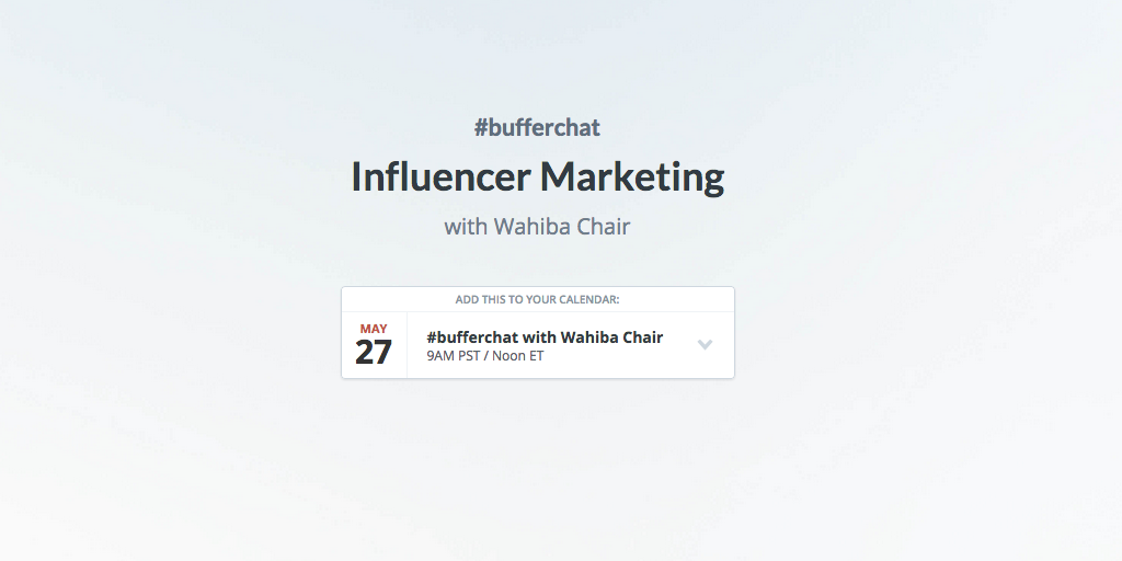 Our weekly #bufferchat has a new home! Find out what's coming up and catch all the recaps at https://t.co/lFbBmM6O2r http://t.co/NkAAlphFp6