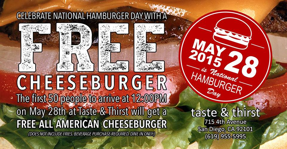 TODAY: Free burger for National Burger Day @TasteandThirst? Details are in the image below! http://t.co/p2ti3xizyA