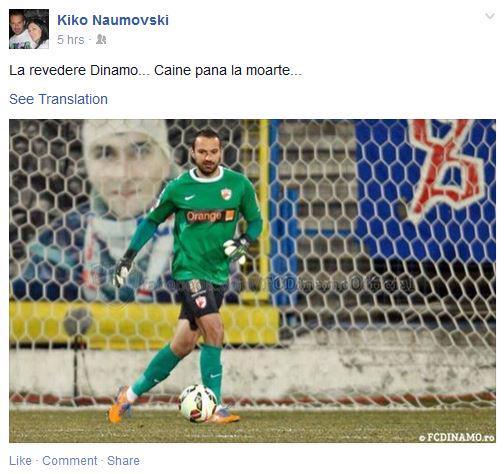 The message on Naumovski's facebook account