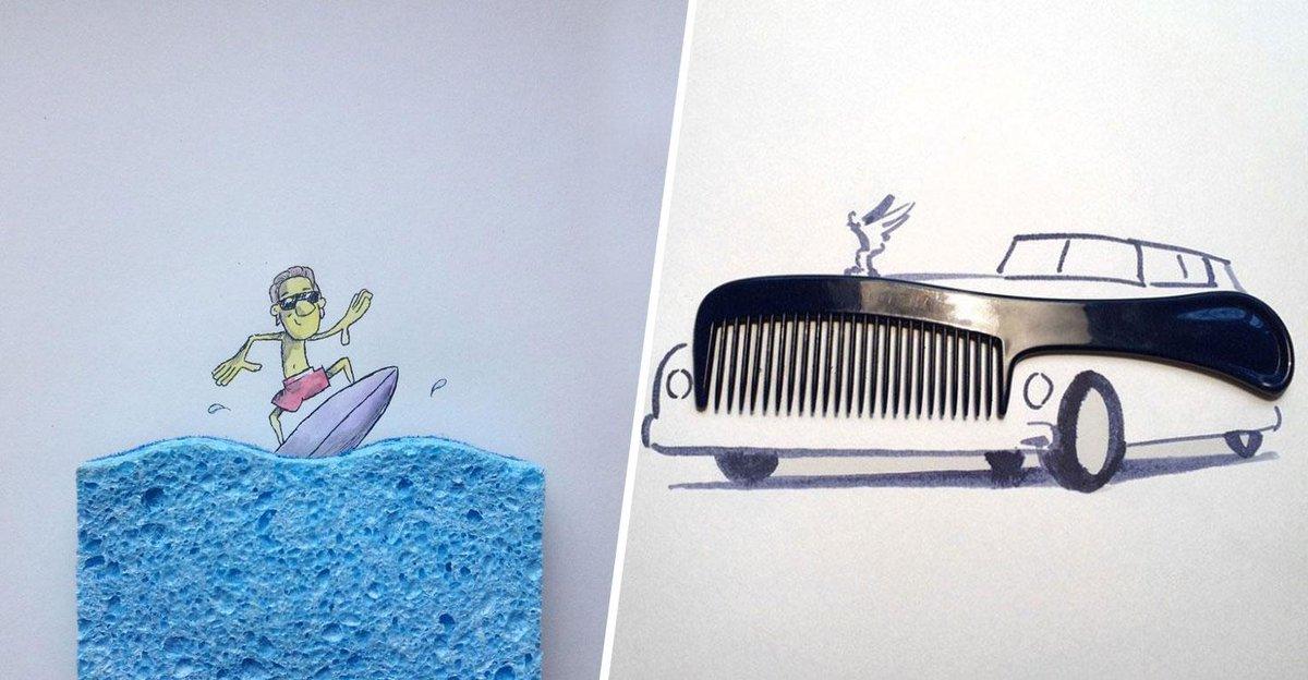 ce jeune artiste utilise des objets du quotidien pour cr er des dessins hyper cr atifs. Black Bedroom Furniture Sets. Home Design Ideas