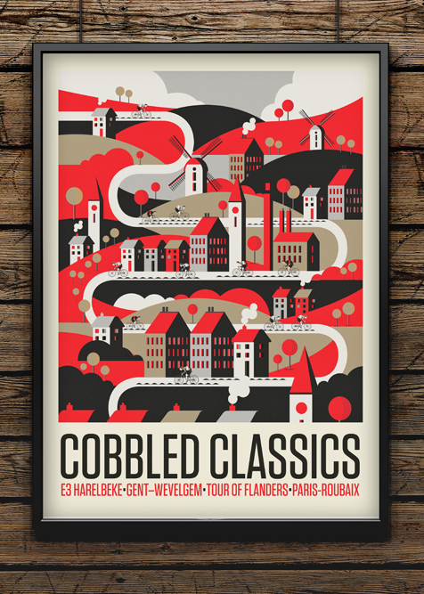 The all new 'Cobbled Classic' print is up in the shop. #cobbles #cycling #illustration #print http://t.co/Y3WxHYGp7v http://t.co/8vSr5nsTKl