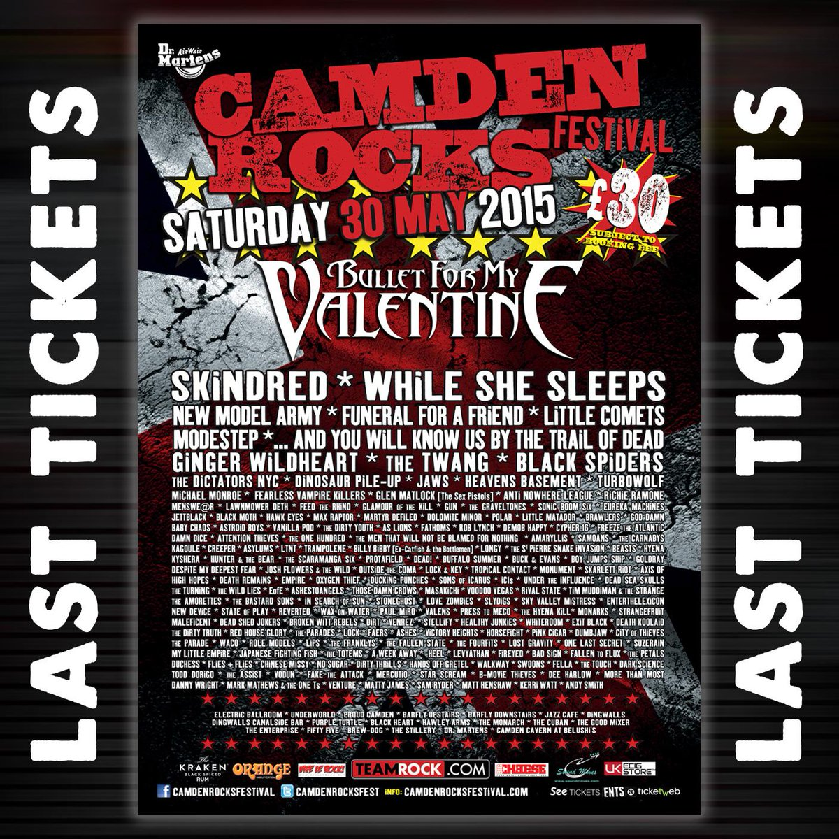 LAST REMAINING @CamdenRocksFest TICKETS // It's about to sell out! At > http://t.co/9v86HpQcZF - Lineup: http://t.co/oG41ILZmgp