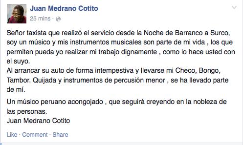 Tamareeee RT @jfowks: Taxista se llevó instrumentos del maestro percursionista Juan Medrano Cotito, espera devolución http://t.co/WmQFL6xez7