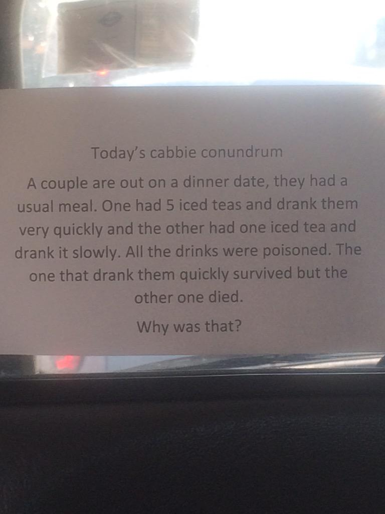 In a cab with a cabbie who earns his tips by providing entertainment / befuddlement. Know the answer? http://t.co/2qs8UgggEN