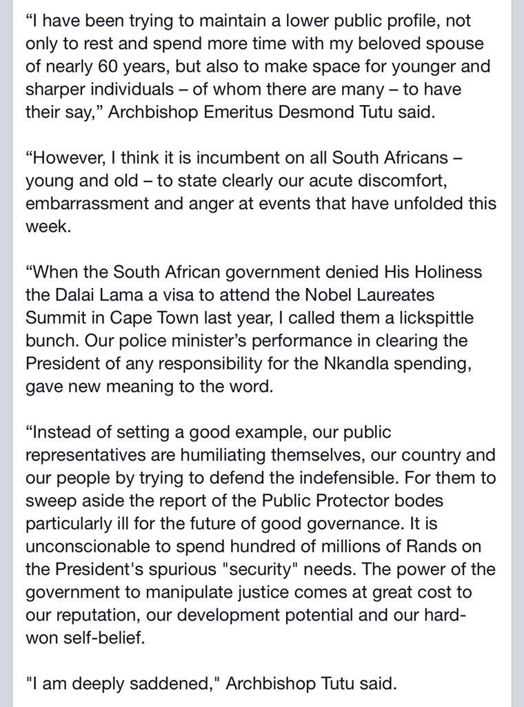 """""""I am deeply saddened"""". Statement by @TheDesmondTutu on #Nkandla http://t.co/wFj3l48Zvo"""