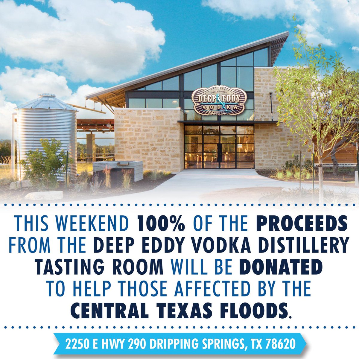 We want to help those in Texas affected by this week's floods. Join us at our distillery & support our community! http://t.co/N57lA9p9AI