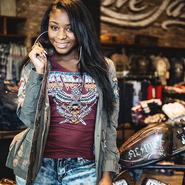 Our girl Normani stopped by and grab some fresh gear for the tour. #Affliction #LiveFast @fifthharmony #5HUKInvasion http://t.co/Vy8NyqDfHx