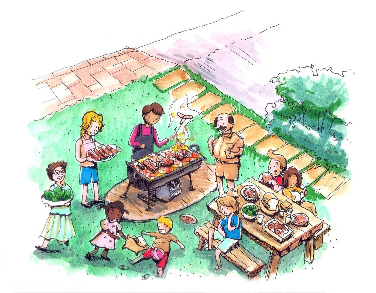 Рисунок отдых с семьей на даче