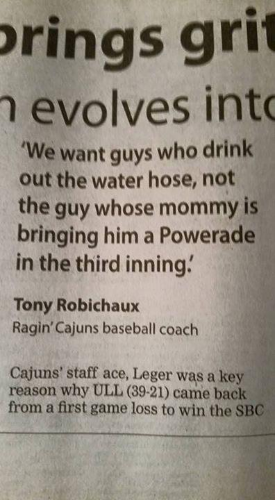 Amazing quote from ULL Baseball coach Tony Robichaux - hey young players and parents LOCK THIS IN - ++ advice http://t.co/WfLw0tfZQe