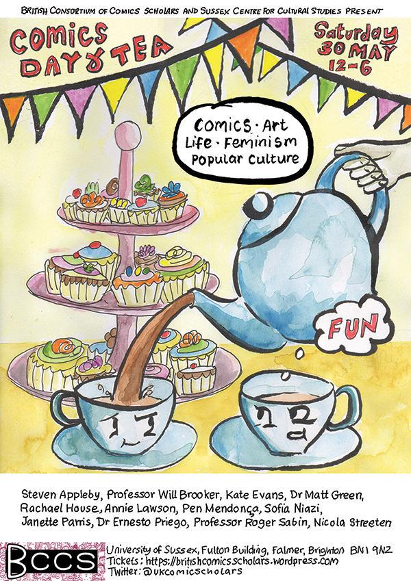 Heading down to Brighton for the @ukcomicscholars conference and @Laydeezdocomics tea party! #BCCS #comicsandcake http://t.co/4nBtIFdWrj