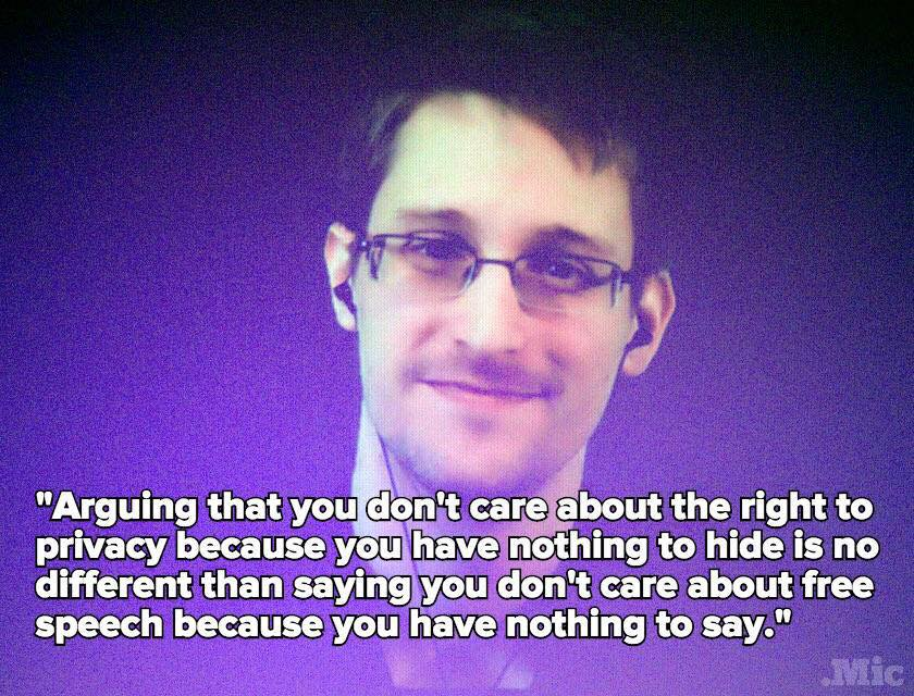 Edwards #Snowden's response to the 'nothing to hide' #privacy argument is excellent. http://t.co/Jr4sXVLr6E /via @headhntr Cc @johncusack