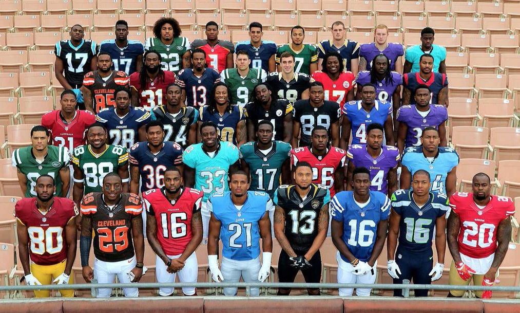 7f31d996d57cd3 new nfl draft picks in their jerseys at the 2015 nflpa rookie premiere