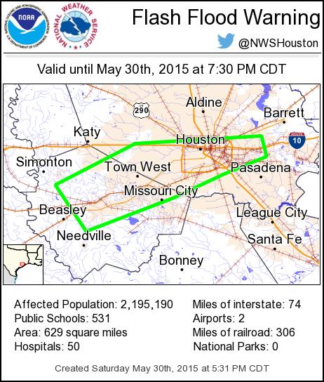 530pm Flash Flood Warning Harris Ft Bend Co Including Houston